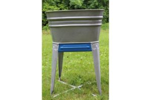 Galvanized Single Wash Basin With Royal Blue Details