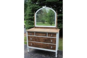 Natural & White Dresser with Mirror