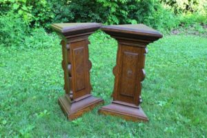 Ornate Oak Pedestals
