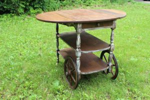 White Washed Tea Cart
