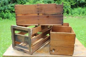 Wood Slatted Crates-Tall