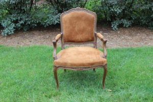 Tan Suede Victorian Chair
