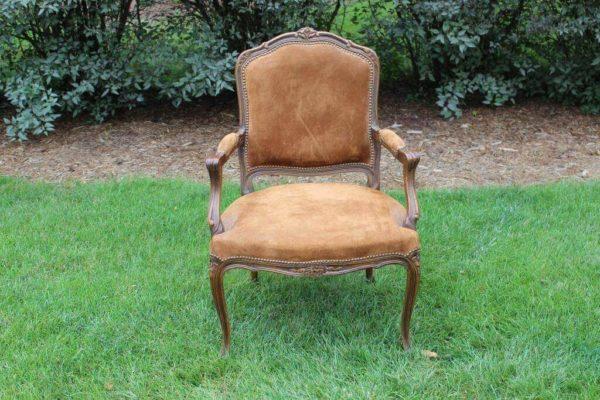 Tan Suede Victorian Chair