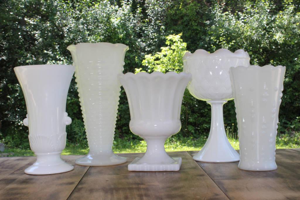 Milk Glass Vases Large Vintique Rental