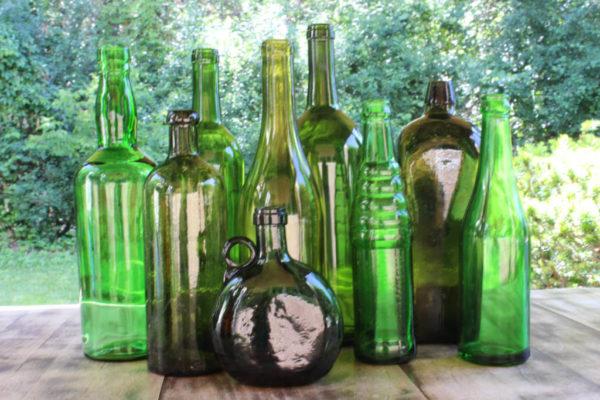 Assorted Green Bottles -L Vintique Rental WI