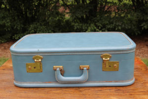 Periwinkle and Brass Suitcase