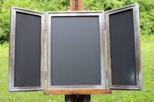 F15: Silver 3-Panel Chalkboard