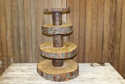 4 Tier Wood Slab Cake Stand Vintique Rental