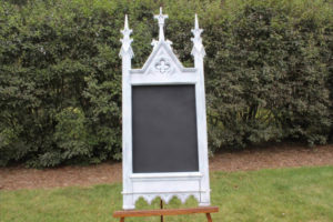 F2: White Ornate Church Chalkboard