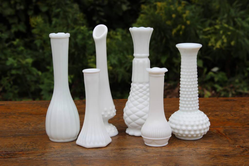 Milk Glass Vases Small Vintique Rental