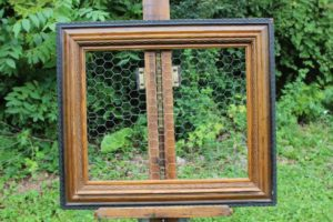 Black and Wood Chicken Wire Frame