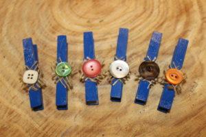 Blue Burlap Button Clothespins