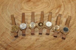Bronze Burlap Button Clothespins