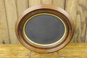 F84: Walnut & Gold Oval Chalkboard