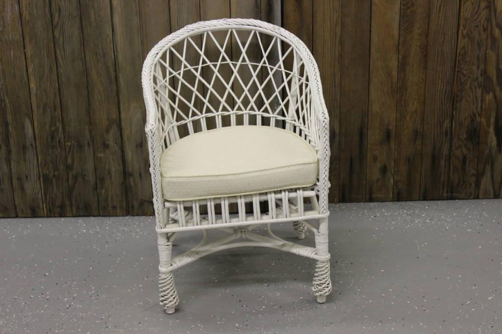 Childu0027s White Wicker Chair