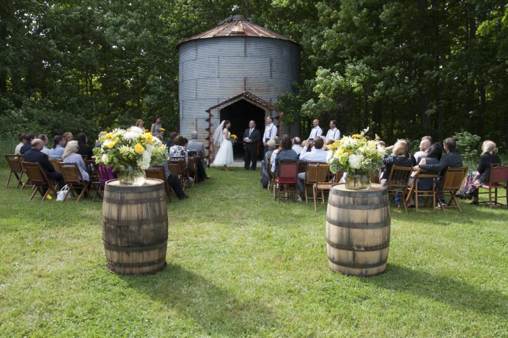 Wedding Ceremony with Barrels