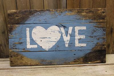 Vintique Rental-Wisconsin Wedding Barn Wood Love Sign