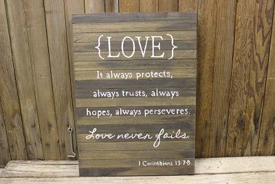 Vintique Rental-Wisconsin Wedding Barn Wood Love Quote