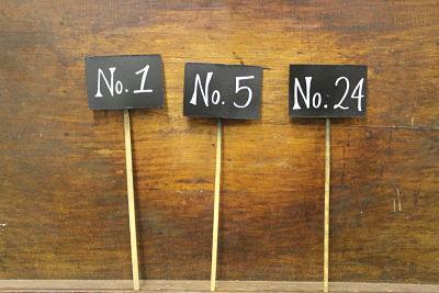Vintique Rental-Wisconsin Wedding Chalkboard Table Number Stakes