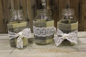 Vintique Rental-Wisconsin Wedding Flannel & Lace Ball Jars
