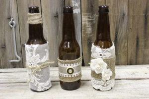 Vintique Rental-Wisconsin Wedding Lace and Burlap Brown Bottles