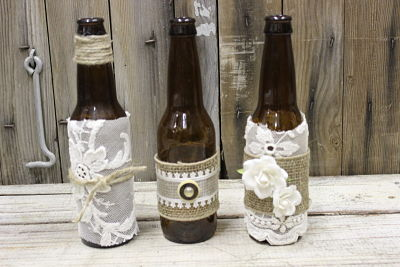 Vintique Rental-Wisconsin Wedding Lace and Burlap Brown Bottles