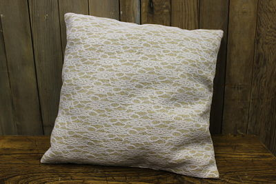 Vintique Rental-Wisconsin Wedding Lace & Burlap Pillow