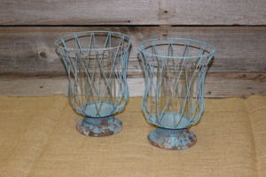 Vintique Rental-Wisconsin Wedding Distressed Teal Candle Holders
