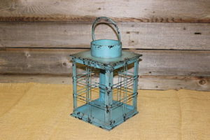 Vintique Rental-Wisconsin Wedding Rusted Teal Box Lantern