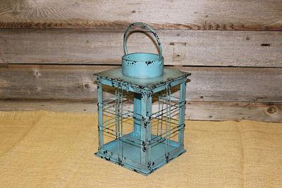 Vintique Rental-Wisconsin Wedding Rusted Teal Box Lantern