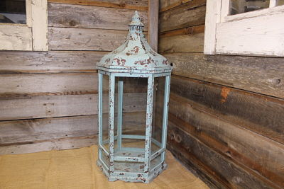 Vintique Rental-Wisconsin Wedding Turquoise Hexagon Lantern Medium