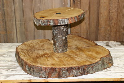 2-Tier Wood Cake Stand