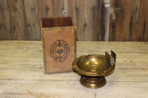 Cigar Box Holder & Brass Ashtray