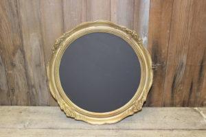 F157: Round Burnished Gold Ornate Chalkboard