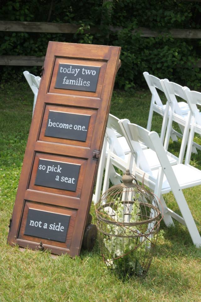 Ceremony Seating Chalkboard Door