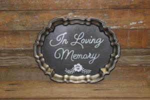 F98 Fluted Platter: In Loving Memory Sign