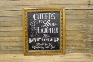 F212 Detailed Oak Chalkboard: Cheers to Love, Laughter….Sign