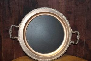 F323: Bronze Platter Chalkboard w/Handles