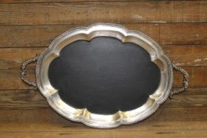 F300: Scalloped Edged Chalkboard Platter