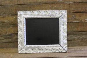 F401: White Floral Trimmed Chalkboard