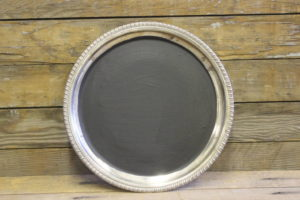 F324: Feathered Trimmed Chalkboard Platter