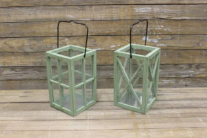 Sage Green Wood Lanterns- Vintique Rental