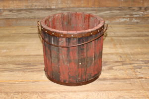 Rustic Red Wooden Bucket