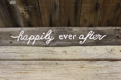 """""""Happily Ever After"""" Barn Wood Sign"""