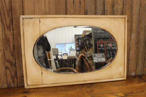 Rectangular Oval Cream Mirror