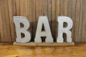 Galvanized 'BAR' Letters-L