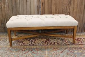 Beige Tufted Flat Bench