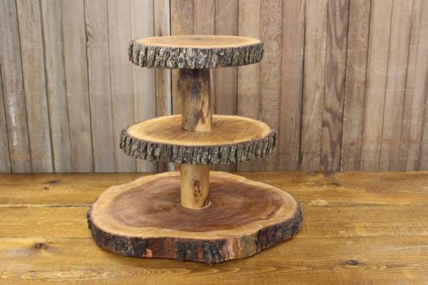 3-Tier Wood Slab Cake Stand