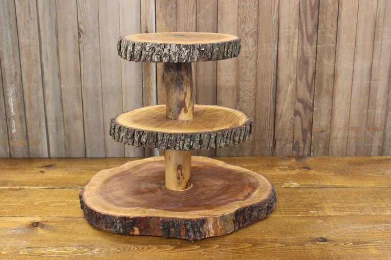 3 Tier Wood Slab Cake Stand