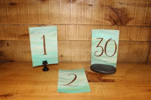 Woodland Calligraphy Table Numbers -Vintique Rental WI